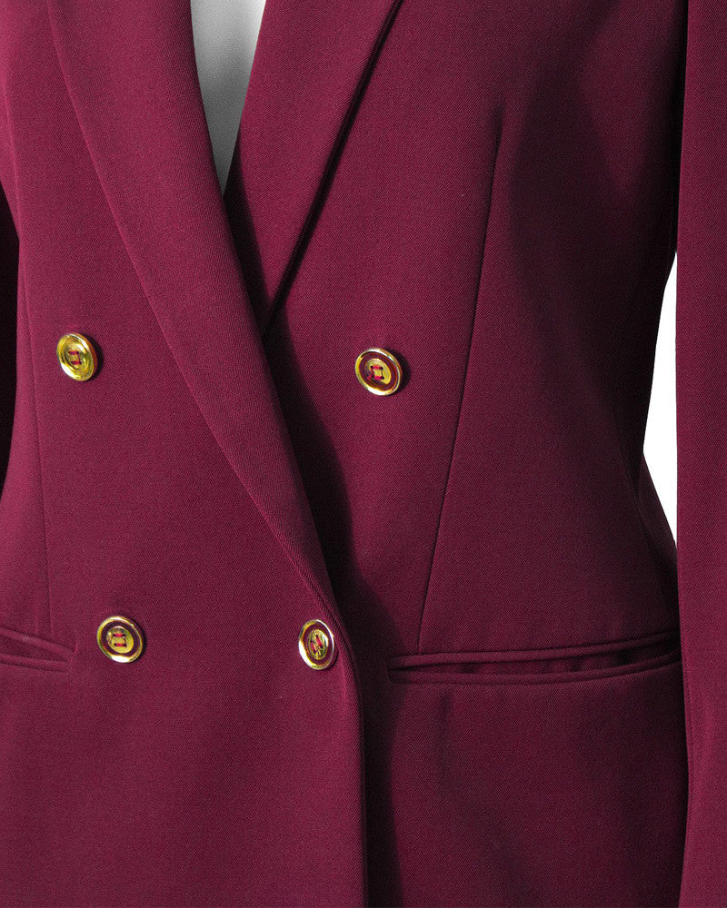 Bordeaux Gabardine Skirt Suit