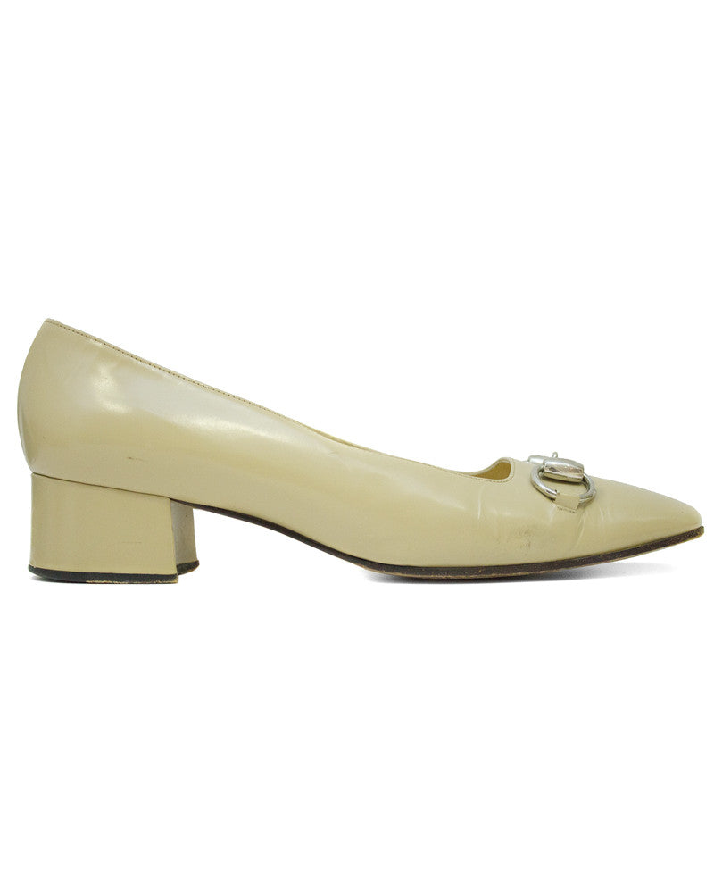 Beige Leather Low Heels with Silver Horsebit