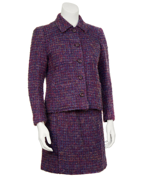 Purple and Blue Woven Wool Suit