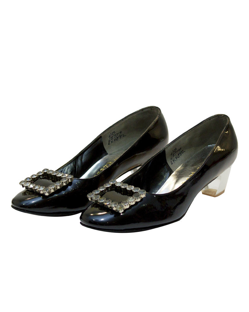 Plexi Heel Pumps with Rhinestone Buckles
