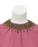 Pink Dress with Beaded Collar and Cuffs