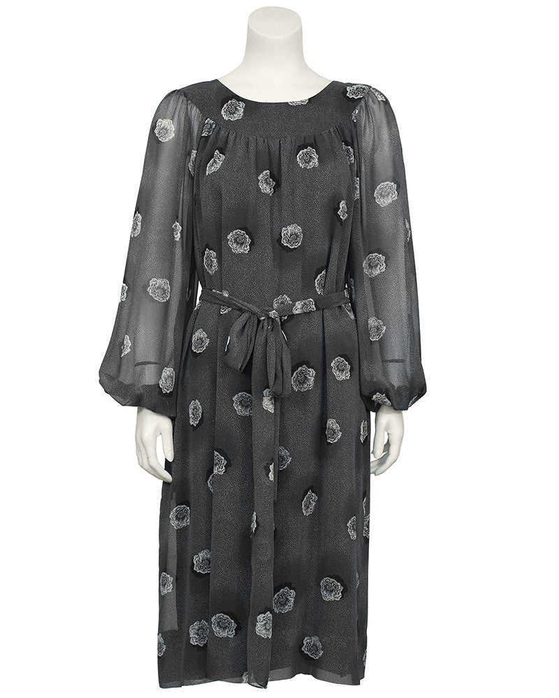 Grey Chiffon Floral Print Dress