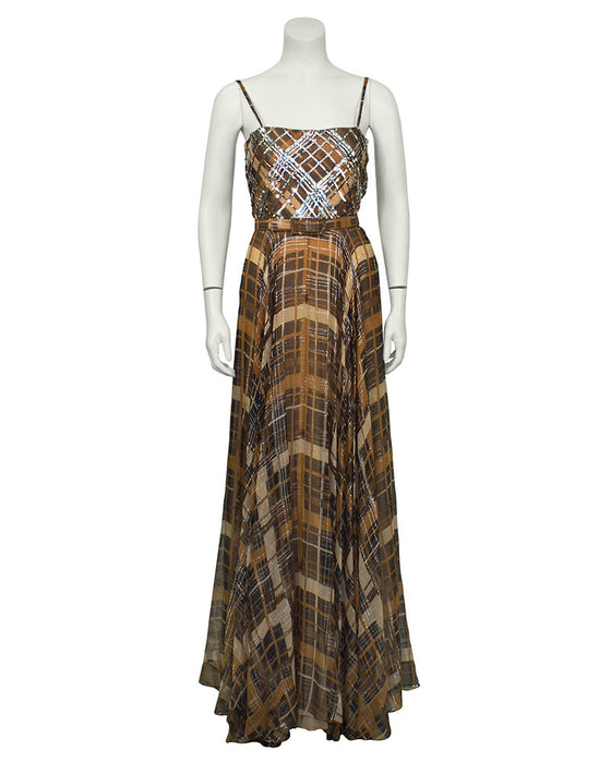 Plaid Chiffon Gown with Belt
