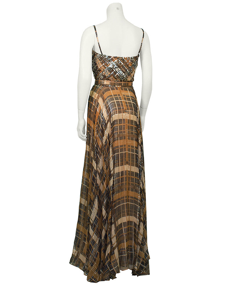 Lew Prince of Aldrich Plaid Chiffon Gown with Belt