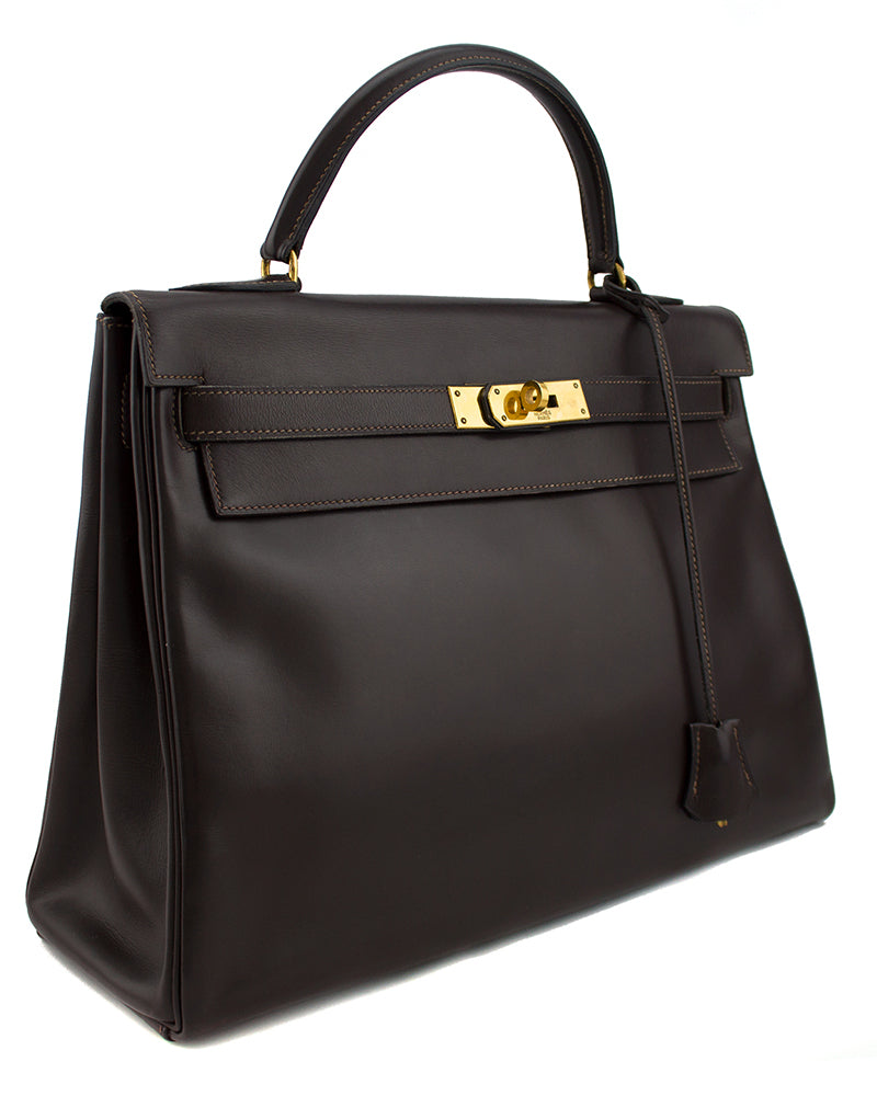 32cm Kelly Bag in Dark Brown Box Leather