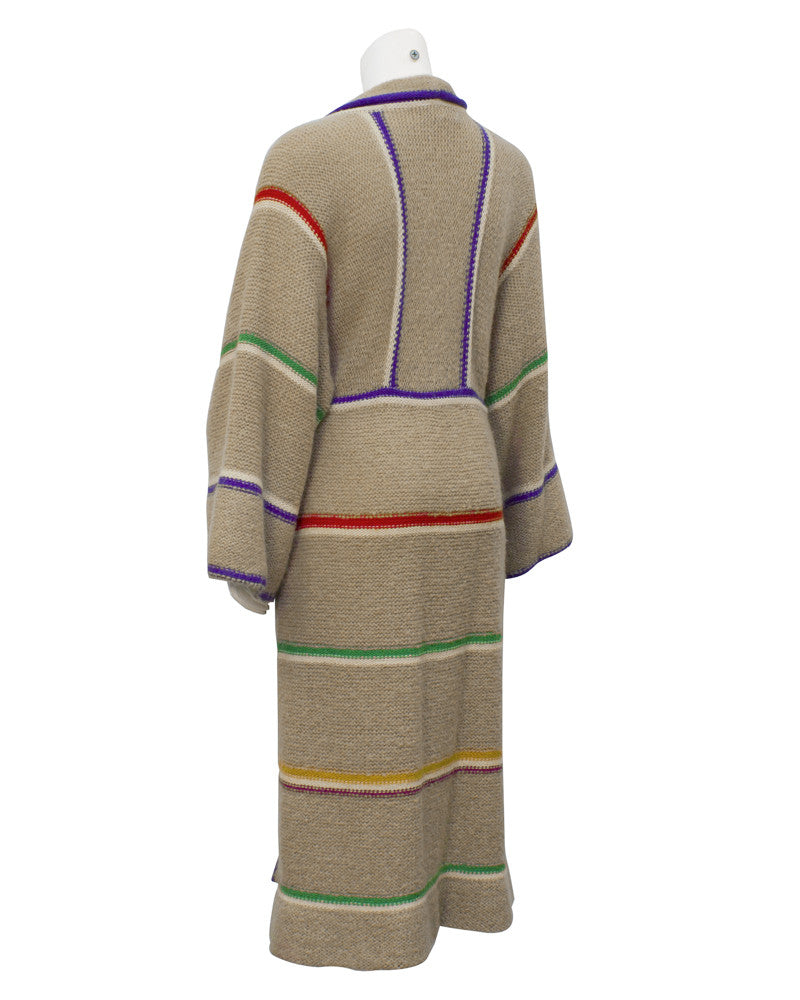 Tan striped knit coat