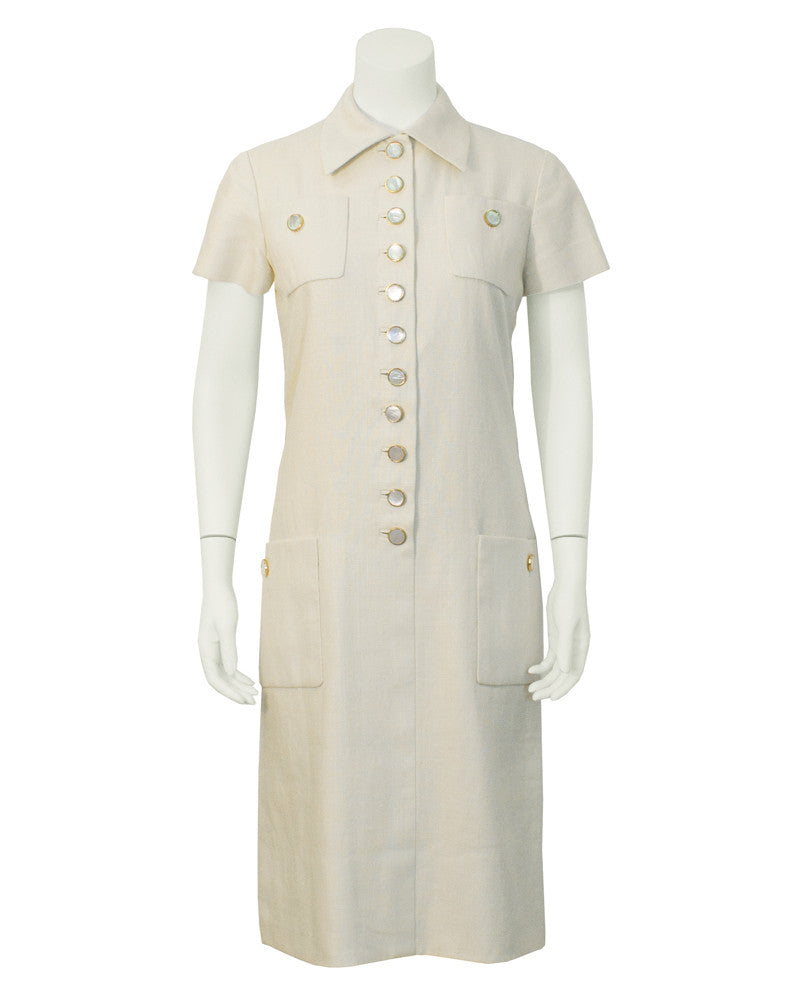 Cream Linen Day Dress