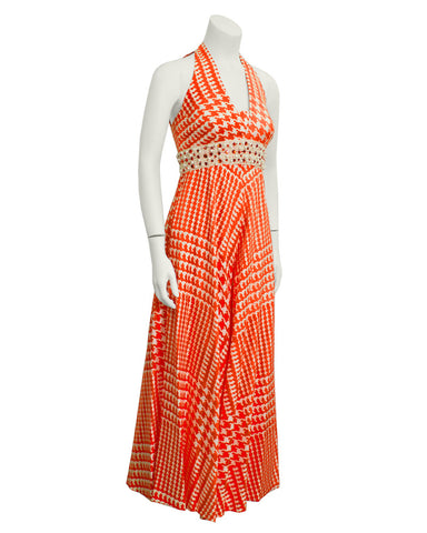 Orange & White Houndstooth Jumpsuit