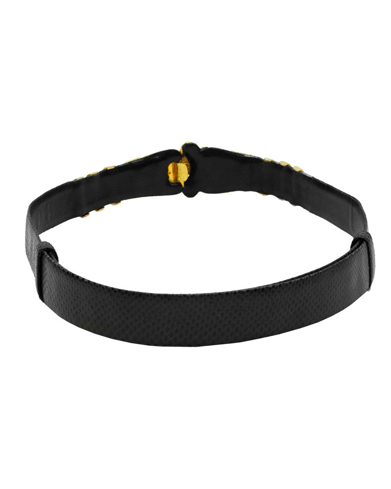Black Lizard Belt with Gold Details