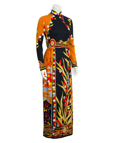 Tan & Black Abstract Print Gown