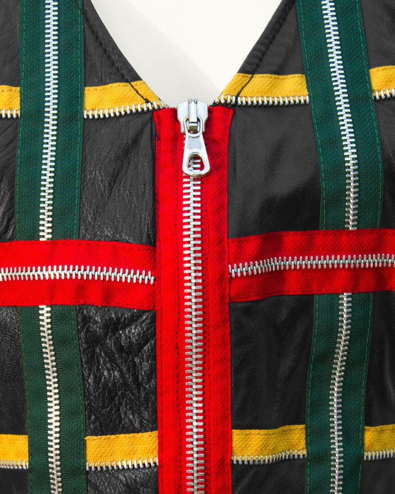 Black Leather Vest with Colorful Zippers