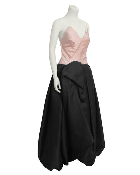 Pink and Black Strapless Ball Gown