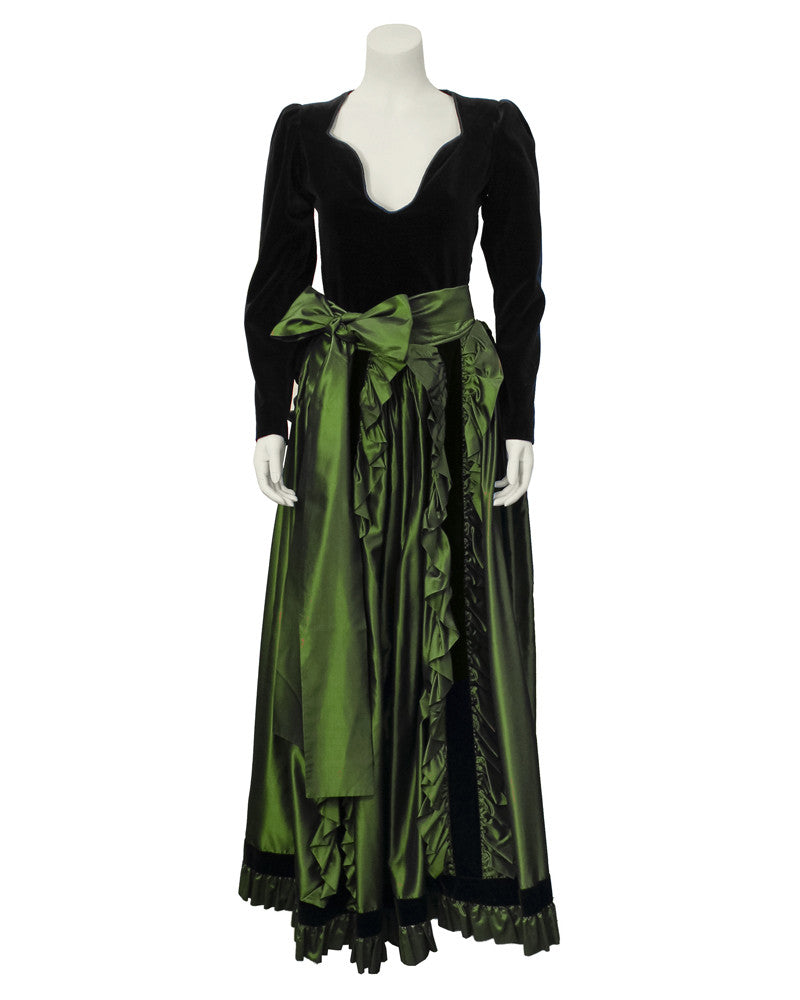 Black Velvet Top & Green Taffeta Skirt