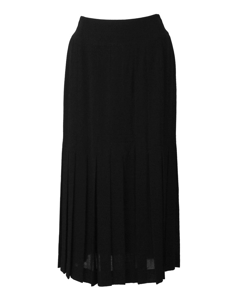 Black Wool Pleated Midi Skirt