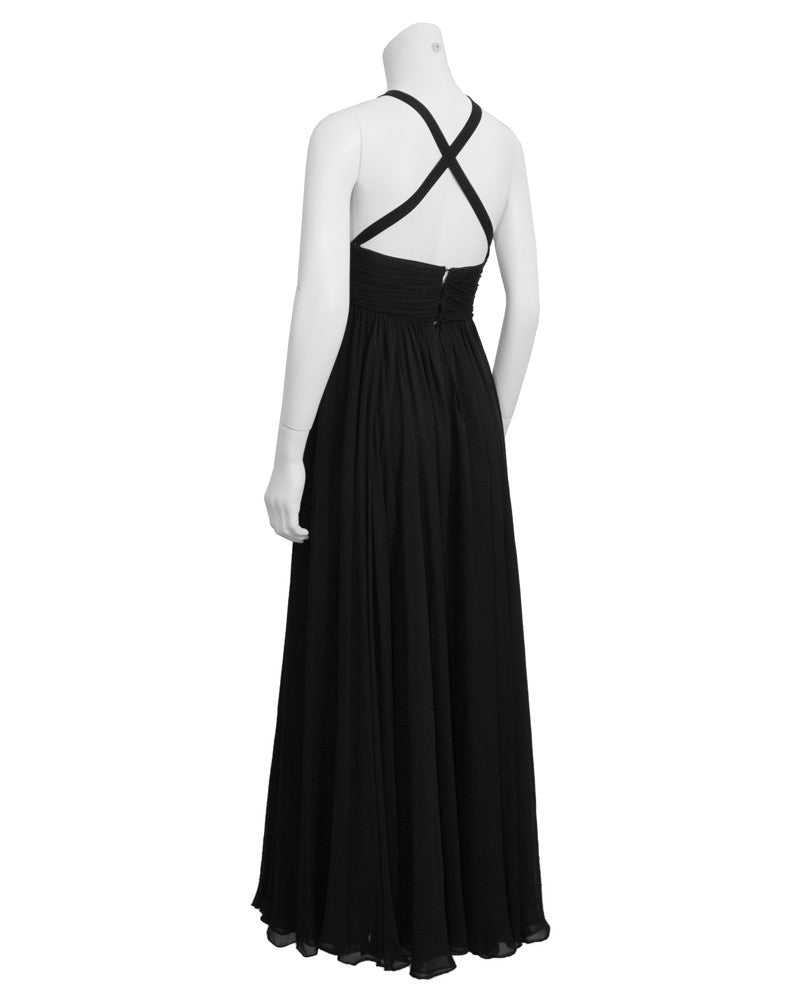 Black Silk Chiffon Gown