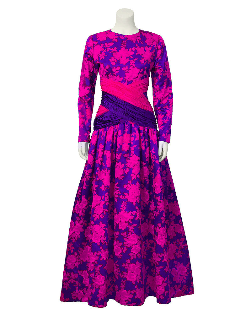 Pink & Purple Floral Print Ball Gown