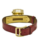 Red leather kelly Watch with gold hardware