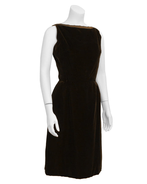 Brown velvet cocktail dress