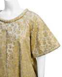 Gold Brocade Jacquard Swing Hostess Dress