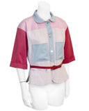Red, pink & blue Color Block Jacket