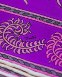 Purple & Pink Feather Printed Clutch & Scarf Set