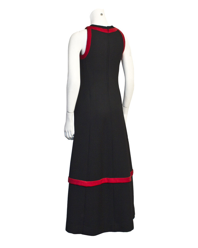 Black Wool Gown with Red Detail