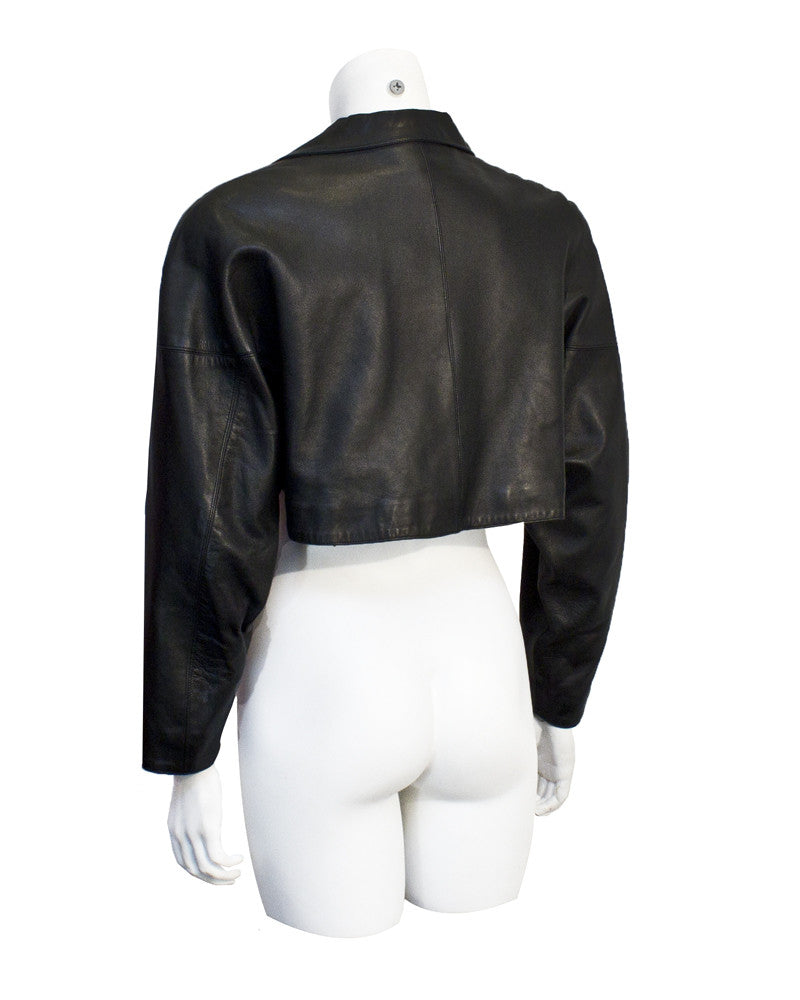 Black leather cropped jacket