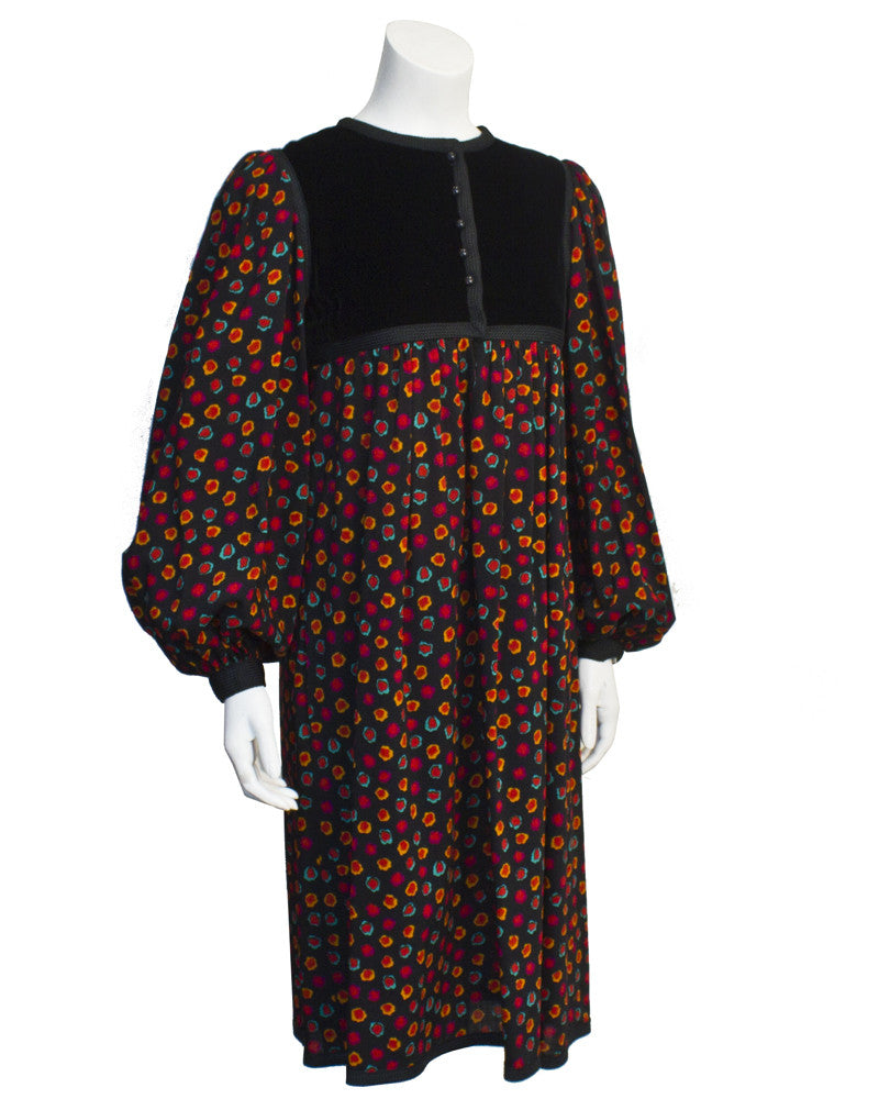 Floral and Velvet peasant dress