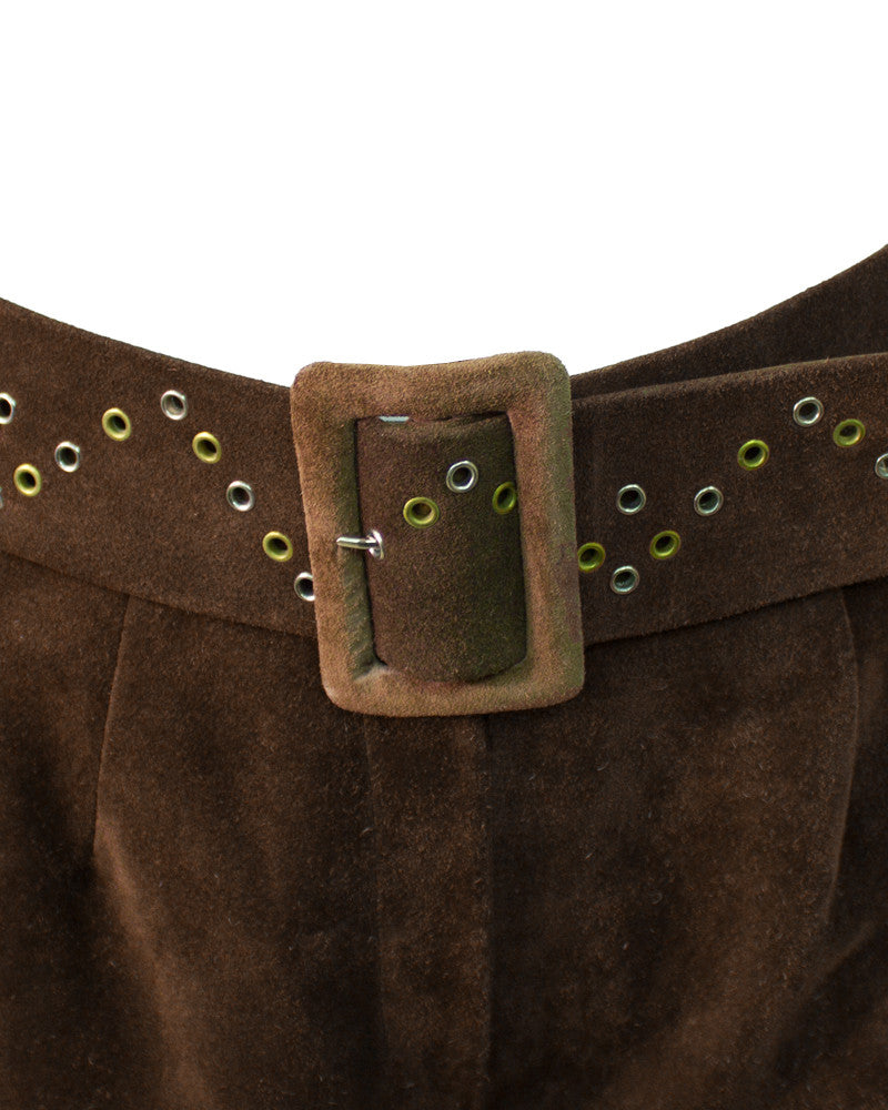 Brown Suede Culottes with Grommets
