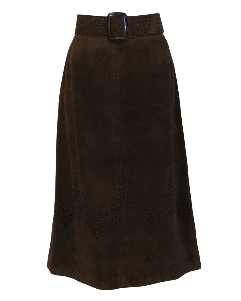 Brown Suede Midi Skirt