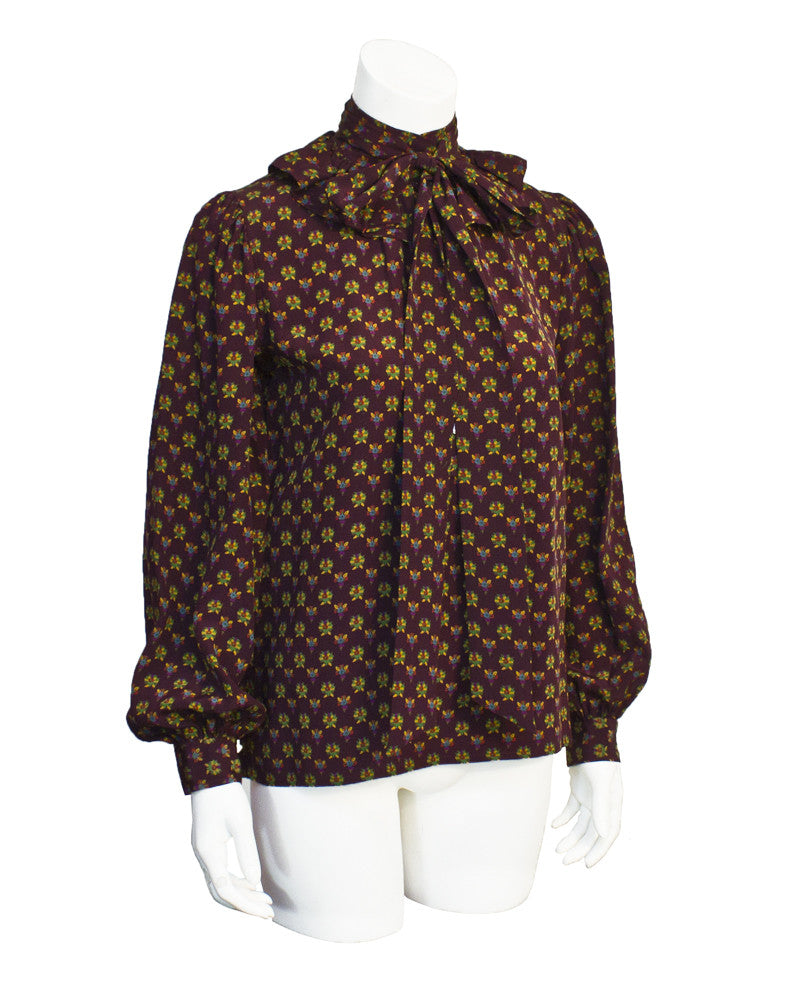 Floral Silk Blouse with Neck Tie