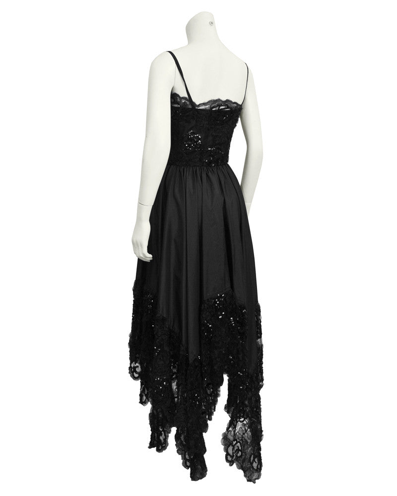 Black Lace Dress with Asymmetrical Hem