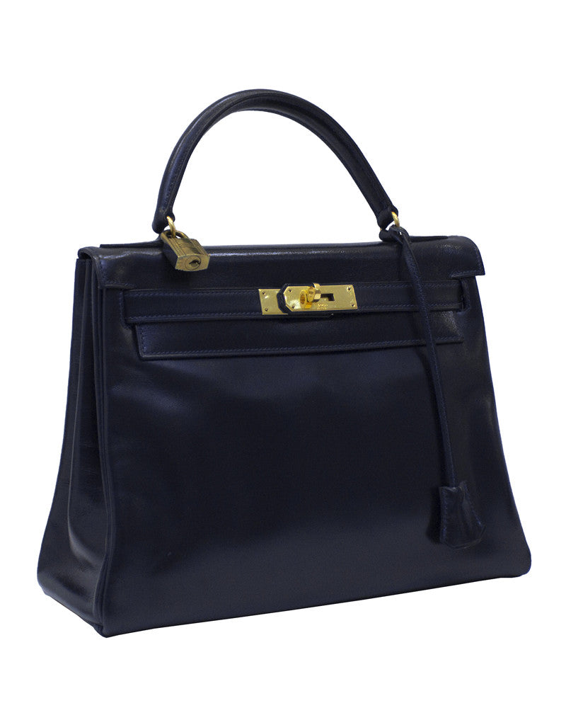 Navy Blue Box Supple Leather 28cm Kelly Bag