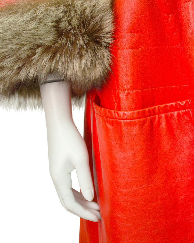 Orange Leather Coat with Fur Collar and Cuffs