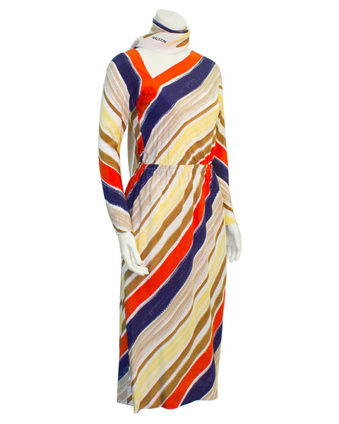 Mutli Color Striped Bias Cut Dress
