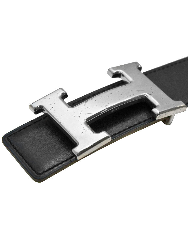 32mm 'Constance' Black Leather 'H' Belt