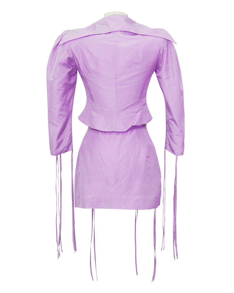 Purple Garter Skirt Suit