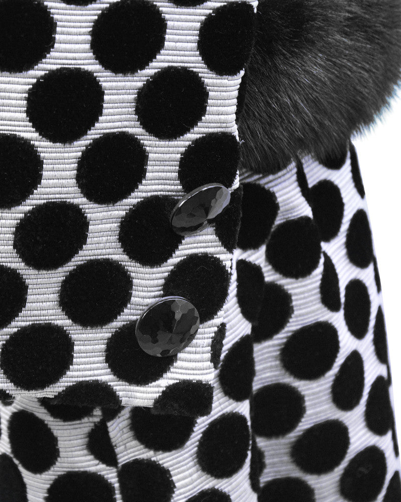 Silver Ensemble with Black Velvet Polka Dots and Fur Trim