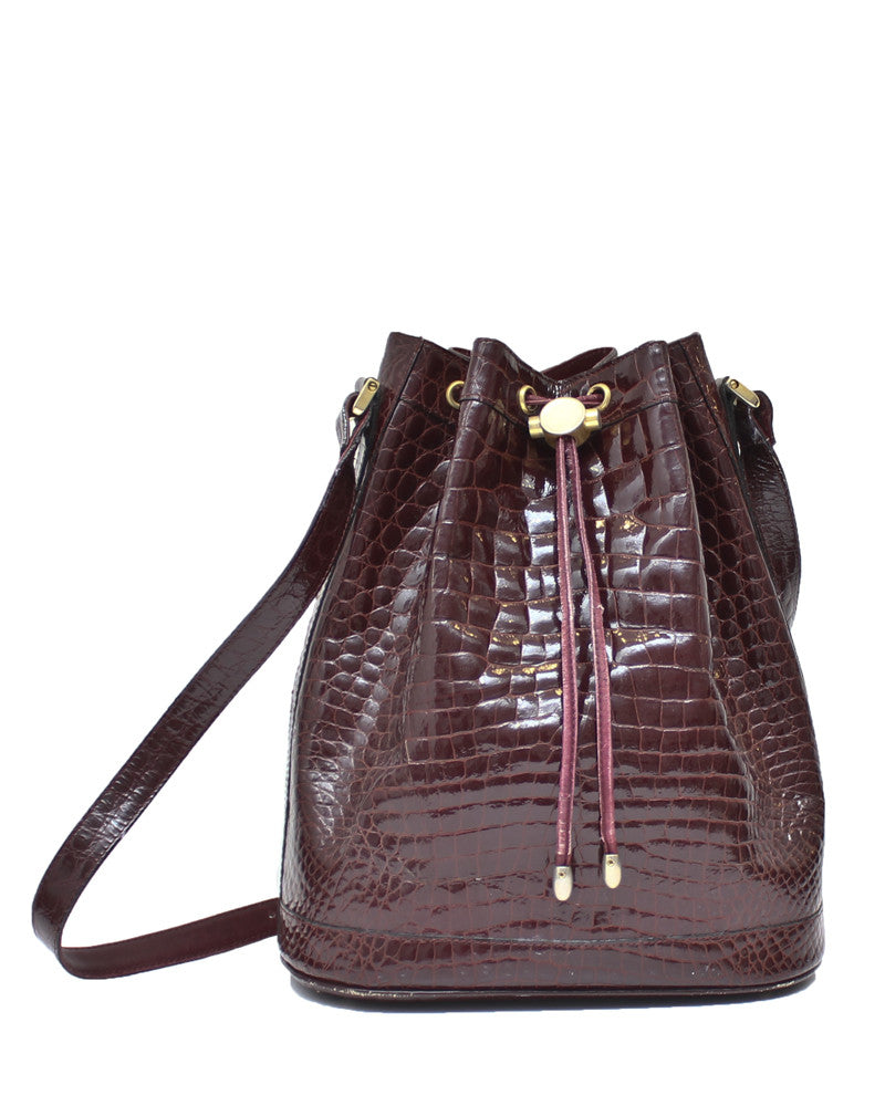 Burgundy Crocodile Bucket Bag