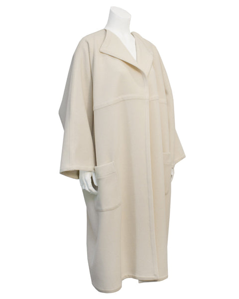 Cream wool unlined coat