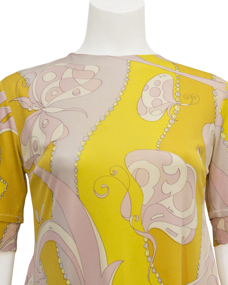 Yellow & pink Silk jersey swing dress