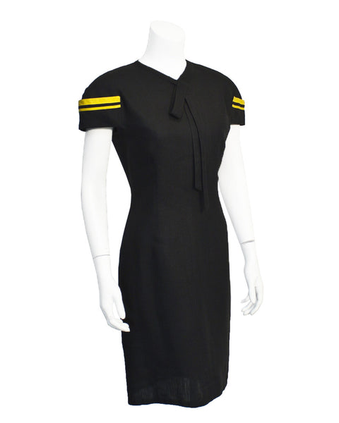 Black and yellow linen dress