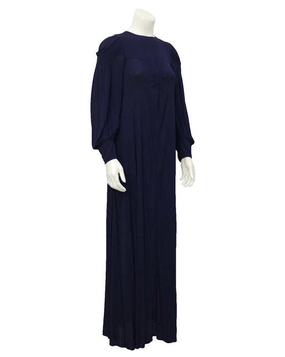 Navy Blue Long Sleeve Gown