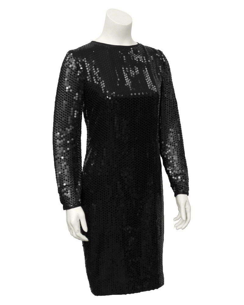 Black Long Sleeve Sequin Dress