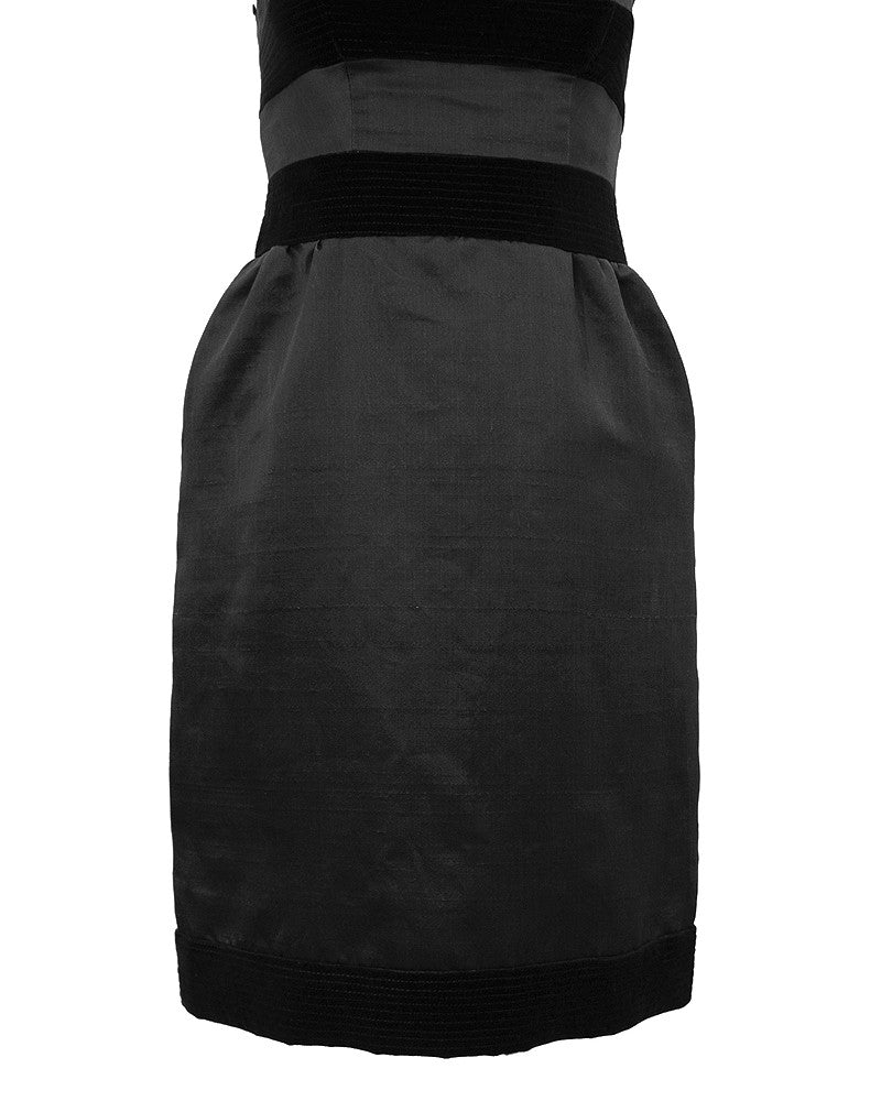 Black Silk and Velvet Cocktail Dress