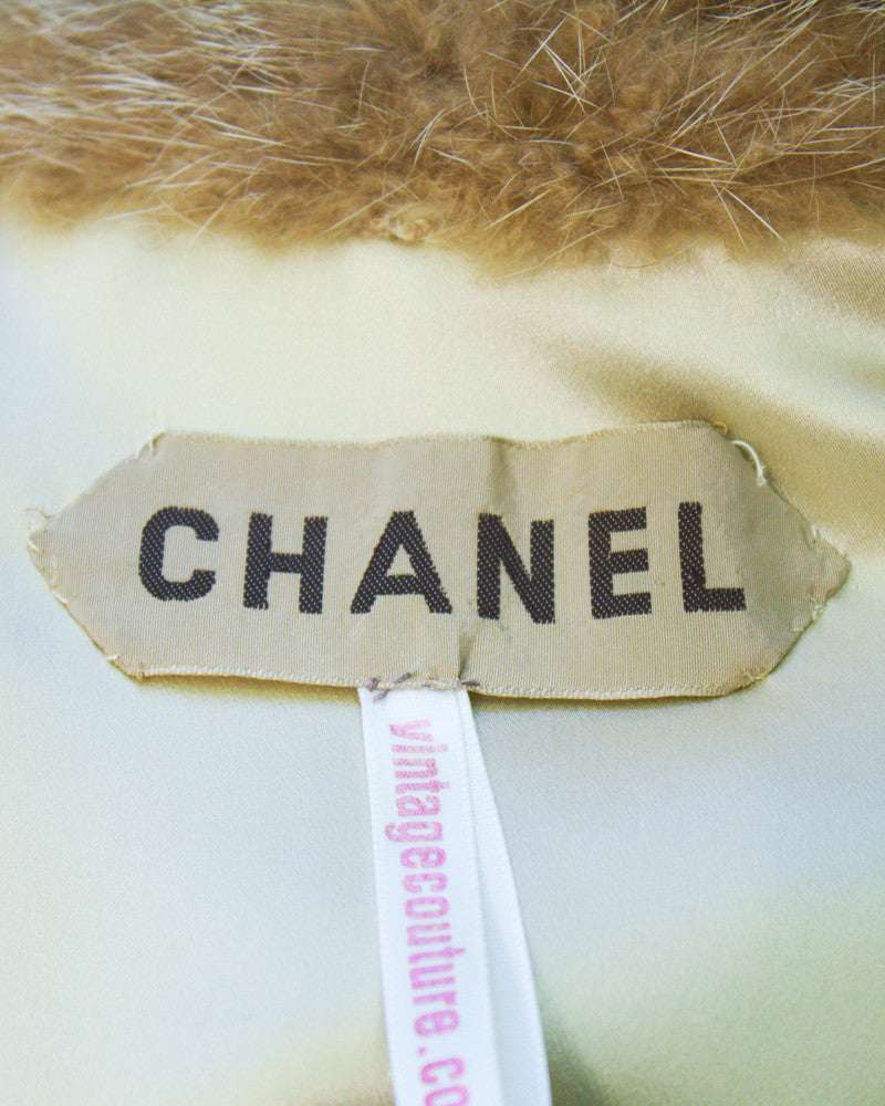 Tan Fur trimmed wool suit