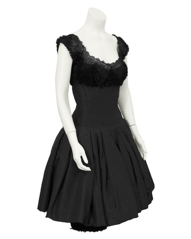 Black Silk Dress with Lace Bodice