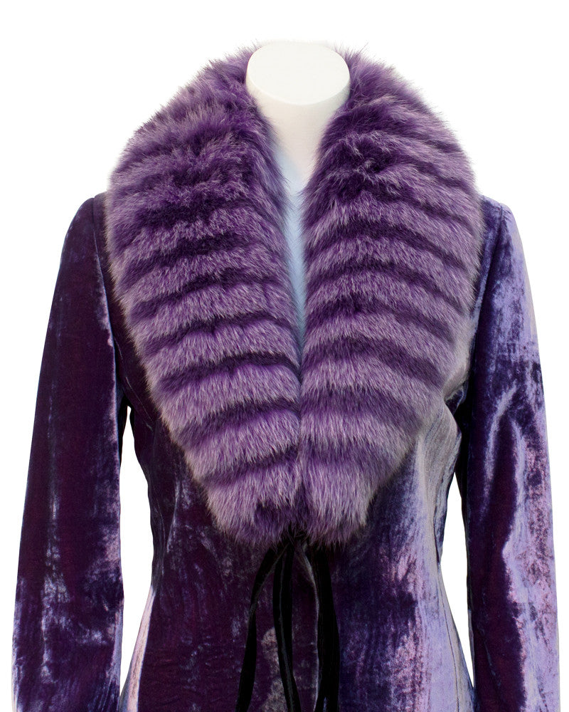 Purple velvet pantsuit with fur stole