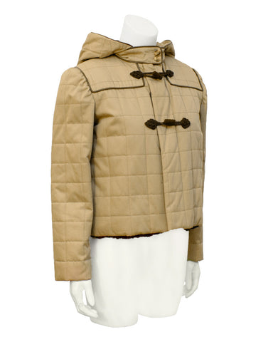 Tan Fur Lined Cropped  Duffle Jacket