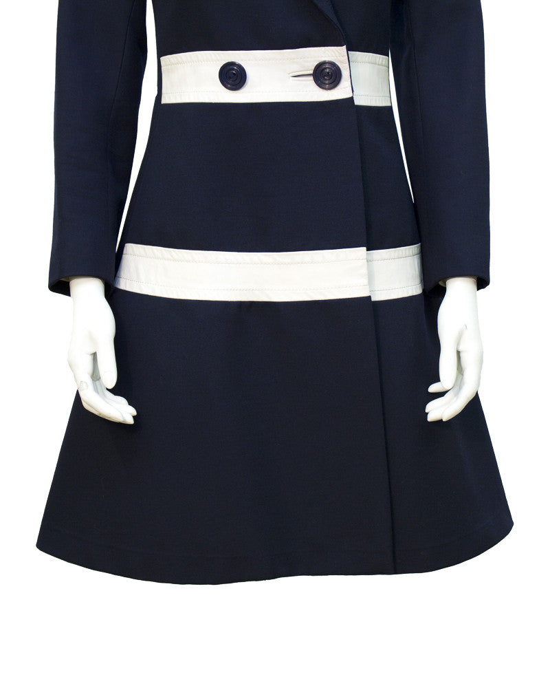 Navy Wool and Leather Mod-Style Coat